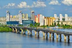 Paton bridge on a Dnieper river Royalty Free Stock Photo
