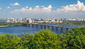 Paton Bridge and Left Bank of the Dnieper Stock Photography