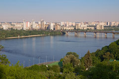 Paton Bridge and Left Bank of the Dnieper, Kyiv Stock Photos