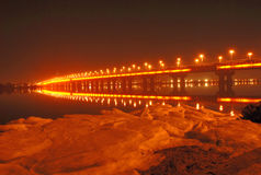 Paton Bridge at Night, Kiev, UA Stock Photos