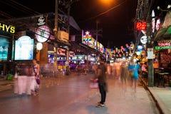 Patong Bangla väg på natten, Phuket, Thailand Fotografering för Bildbyråer