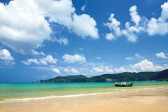 Patong Beach. Sea view of Patong beach. A boat on Patong beach stock photography