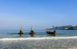 PATONG BEACH AND LONGTAIL BOATS Royalty Free Stock Image