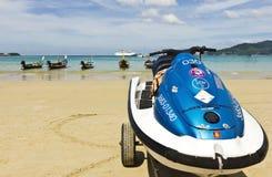 Patong Beach Phuket. Thailand with jetski, longtail fishing boats Stock Images