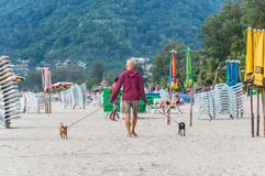Patong beach, Phuket is a place to swim, relax and walk along the beach with stock photo