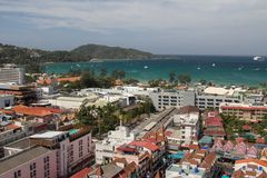 Patong beach in Phuket. View of the beach  Patong in Phuket island  from hotels balcony Stock Photography