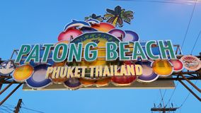 Patong beach sign Phuket Thailand. Picture of the bright colourful sign of the popular Patong beach in Phuket Thailand. Famous and popular for its vibrant night Stock Images