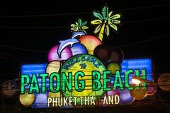 PATONG BEACH, THAILAND - CIRCA SEPTEMBER 2015: Patong Beach sign, Patong Beach, Phuket,  Thailand Stock Photography