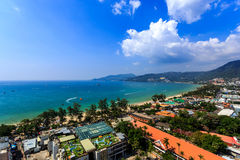 Patong panorama with sea at Phuket, Thailand. Aerial view over Patong taken from rooftop, Phuket, Thailand Stock Photography