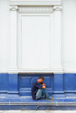 Patong, Phuket, Thailand - Aug 19: Lonely man sitting on the sta Stock Photo