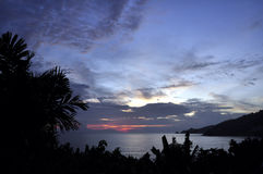Patong plaży afterglow Zdjęcia Royalty Free