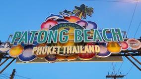 Patong-Strandzeichen Phuket Thailand Stockbilder