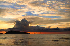 Patong Sunset. A sunset over the Andaman sea off the west coast of Phuket at Patong stock image