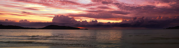Patong Sunset Panorama. A sunset over the Andaman sea off the west coast of Phuket at Patong stock photography