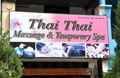 Patong, Tailandia: Segno per la stazione termale di massaggio Immagini Stock Libere da Diritti