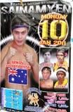Patong, Thaïlande : Affiche thaïe de boxe Images libres de droits