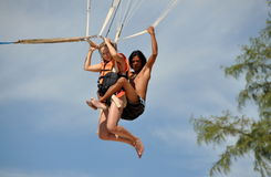 Patong, Thailand: Couple Parasailing Stock Photography