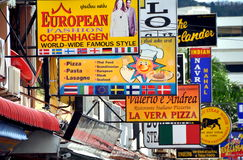 Patong, Thailand: Maze of Restaurant Signs Stock Photo