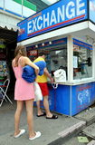 Patong, Thailand: People Exchanging Money Stock Image