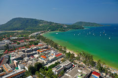 Patong tropical beach from aerial view. Royalty Free Stock Photo