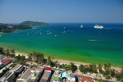 Patong tropical beach from aerial view,  Phuket. Thailand Stock Photography