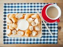 Patongko i słodzący zgęszczony mleko Fotografia Royalty Free