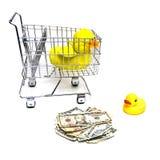 Patos, carro, dinheiro Foto de Stock