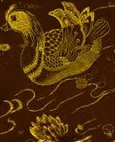 Patos de mandarino amarelos do bordado que nadam Foto de Stock