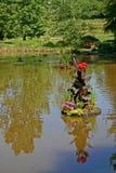 Patos, Muddy Pond & flores foto de stock royalty free