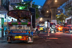 Patpong night market with TukTuk taxi on footpath Royalty Free Stock Images