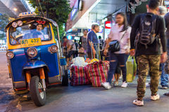 Patpong night market with TukTuk taxi on footpath Stock Photography