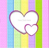 Patrón pancarta corazón colores. Fondo patrón de colores pared de ladrillos fucsia verde amarillo rosa azul Stock Images
