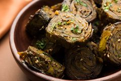 Indian food Patra or Paatra or Alu Vadi Royalty Free Stock Photos