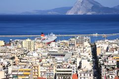 Patra, view of the city and the port from above Stock Images