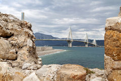 Patras bridge at Greece Stock Photography