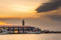 PATRAS, GREECE - FEBRUARY 16, 2016: Lighthouse harbor Stock Photography