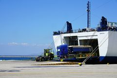 Patras, Greece, 6 September 2018, Docking and unloading of cargo and passenger ferries in the port stock image