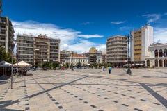 PATRAS, GRIECHENLAND AM 28. MAI 2015: Panoramablick von König George I Square in Patras, Peloponnes, Griechenland Lizenzfreie Stockbilder