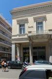 PATRAS, GRIEKENLAND 28 MEI, 2015: Typische straat in Patras, de Peloponnesus, Griekenland Stock Fotografie