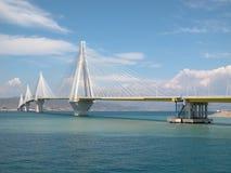 Patras Suspension Bridge. Modern design Patras suspension bridge in Greece Royalty Free Stock Image
