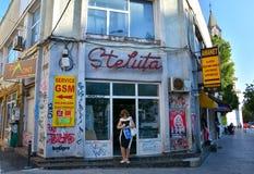 Patrascu Voda街道在布加勒斯特的历史中心 库存照片