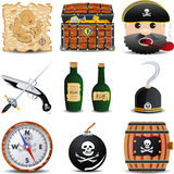 Patrate icon set of 9 items set 2. Pirate map, treasure chest with, a pirate with a tube, a bottle of the Roma, a pistol and sword, the kernel of gunpowder Royalty Free Stock Images