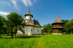 Patrauti Monastery in Suceava, Romania. Built in 1487 and dedicated to the Holy Cross, the monastery at the village of Patrauti /5km northwest from Suceava/ is Stock Photos