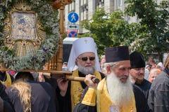 Patriarcado ucraniano de Moscú de la iglesia ortodoxa de los feligreses durante la procesión religiosa Kiev, Ucrania Fotografía de archivo