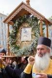 Patriarcado ucraniano de Moscú de la iglesia ortodoxa de los feligreses durante la procesión religiosa Kiev, Ucrania Imagenes de archivo