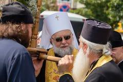 Patriarcado ucraniano de Moscú de la iglesia ortodoxa de los feligreses durante la procesión religiosa Kiev, Ucrania Foto de archivo