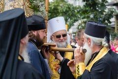 Patriarcado ucraniano de Moscou da igreja ortodoxa dos paroquianos durante a procissão religiosa Kiev, Ucrânia Foto de Stock Royalty Free