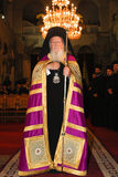 Patriarch Bartholomew in the church of Agios Dimitrios Stock Photos