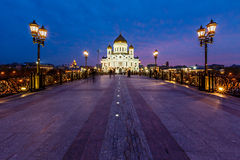 Patriarch Bridge and Cathedral of Christ the Saviour Stock Photography
