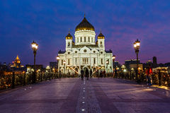 Patriarch Bridge and Cathedral of Christ the Saviour Stock Image